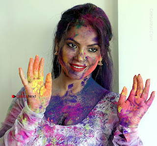 Bollywood Actress and Producer Neetu Chandra Special Po Shoot Gallery in a Dry Holi Celetion  0023.JPG