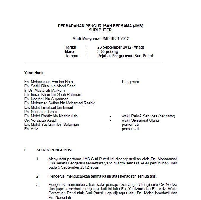 Suri Puteri Shah Alam Minit Mesyuarat Penuh Penubuhan Jmb