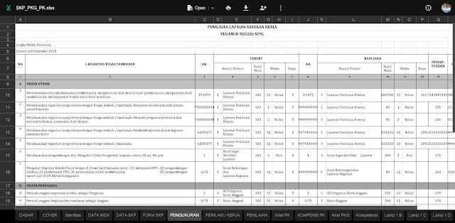 Format Aplikasi Pembuatan SKP dan PKG dalam 1 File Excel