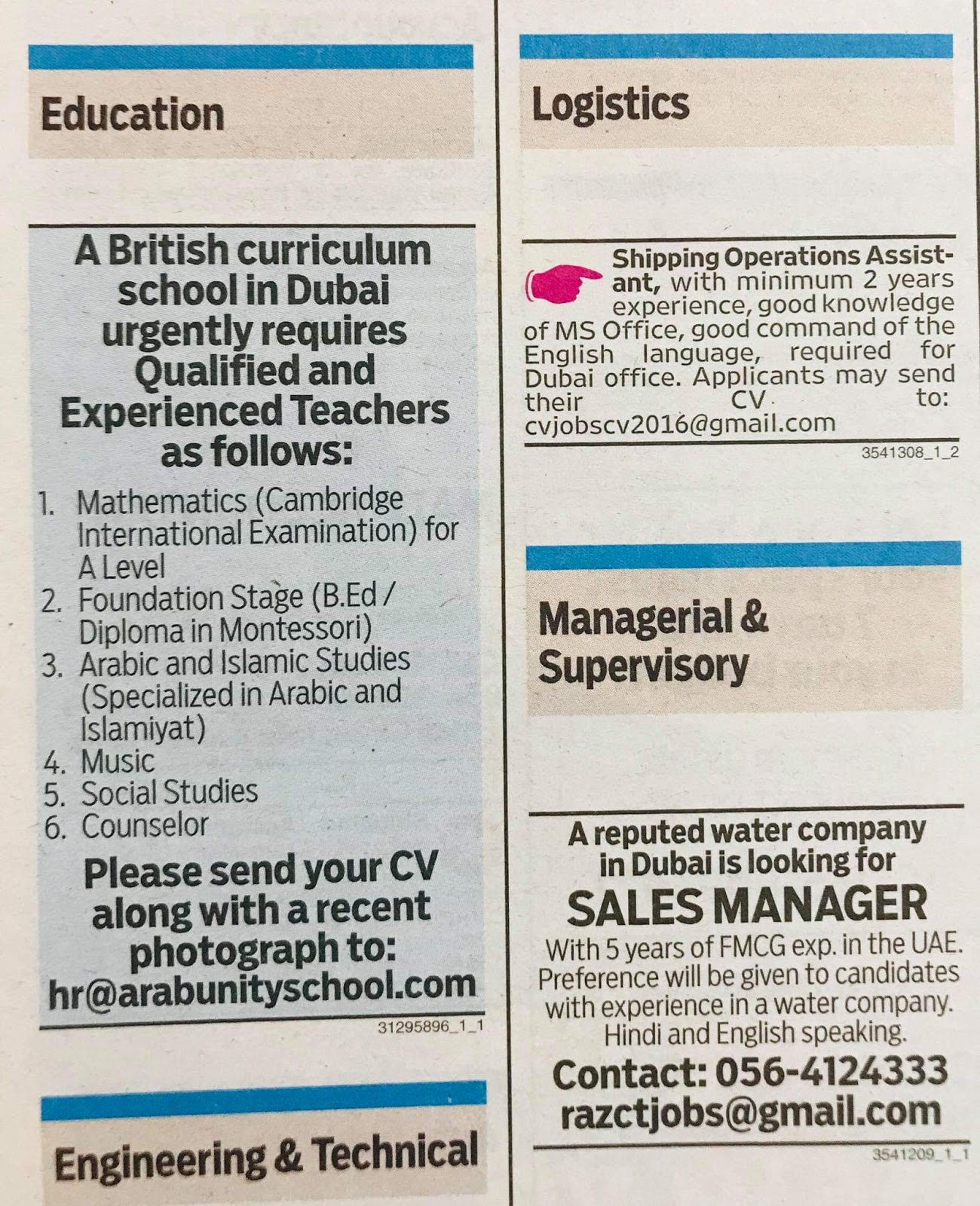 Required following Candidates for Dubai Local Hiring Jobs