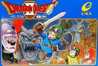 Imagen con el arte gráfico del cartucho de Dragon Quest II, Famicom 1987, Enix