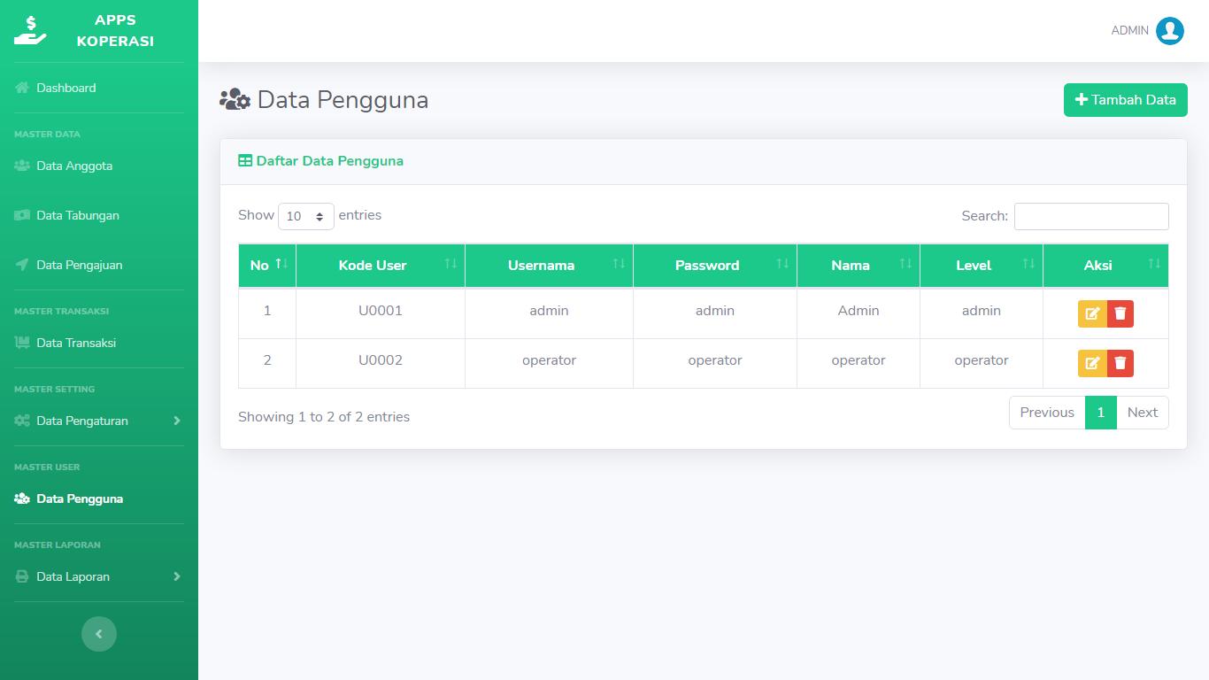 Aplikasi Manajemen Pengelolaan Simpan Pinjam Koperasi - SourceCodeKu.com