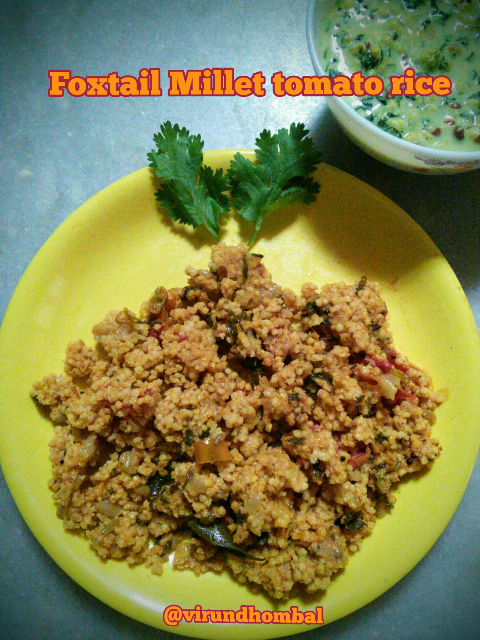 Foxtail millet tomato rice is a healthy, easy and tasty meal for your lunch. You can enjoy the tangy and spicy rice if you prepare this in ahead of time. The ground tomato paste adds beautiful colour and wonderful taste of this rice. This rice is prepared with very few common ingredients and very little preparation work. Cooking time is not more than 20 minutes. Always remember to use very less oil and salt for cooking millets because it requires very little oil. To add extra colour to this rice you can add fresh green peas. If you do not have foxtail millets you can replace it with Kodo Millets or Barnyard millets.