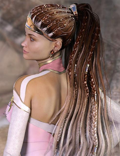 CallaCascade Hair for Genesis 2 and 3 Female