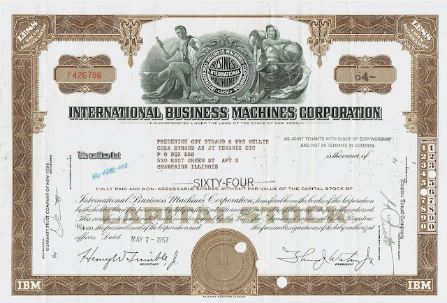 IBM share certificate with old and new logo 1950s