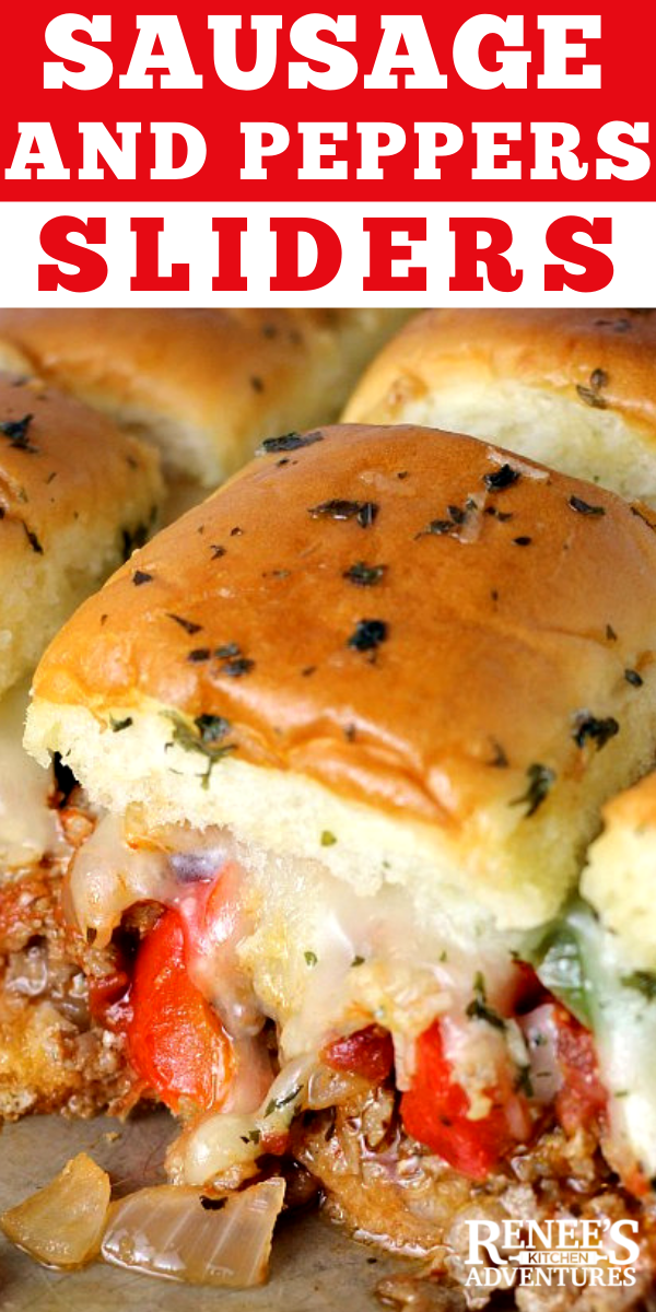 Sausage and Peppers Hawaiian Roll Sliders pin