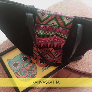 Shopping, Style and Us: India's Top Shopping and Self-Help Blog - Quick Review of the Kanvas Katha Multicolor Velvet Tote Bag