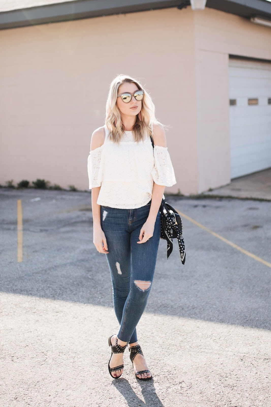 distressed skinny jean with a lace top