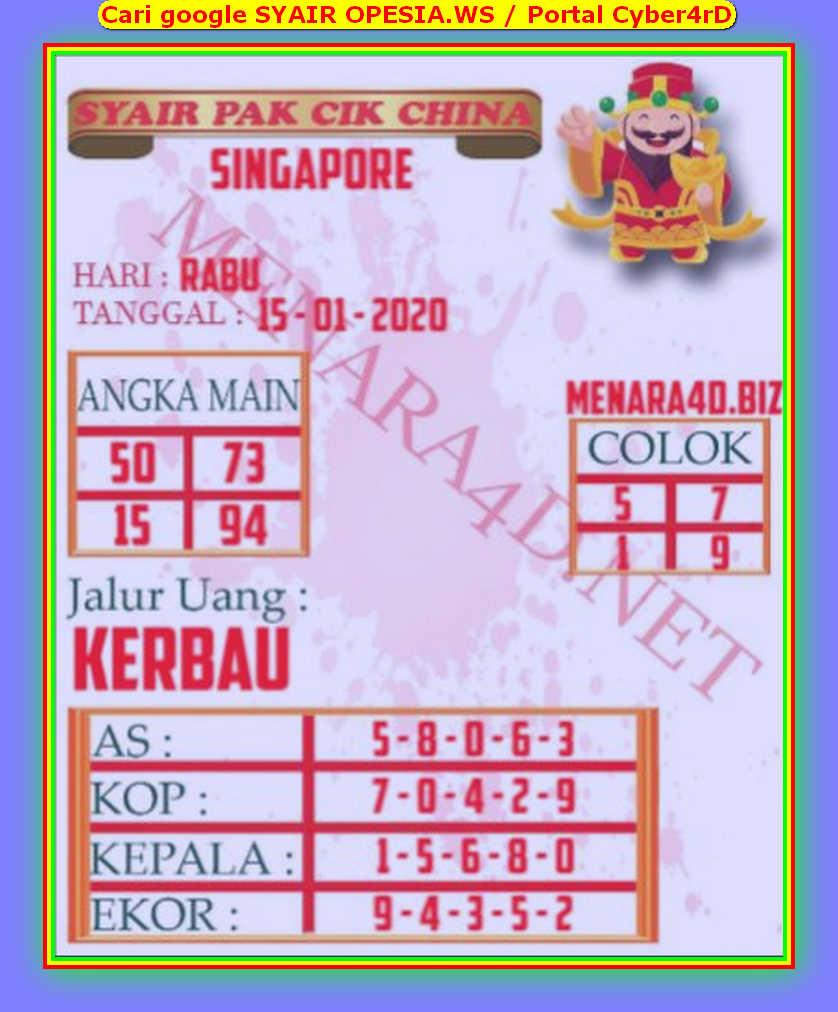 Kode syair Singapore Rabu 15 Januari 2020 129