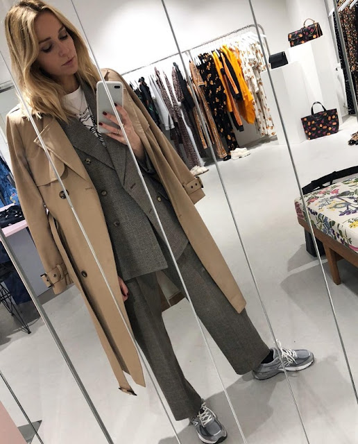 suit, trench coat and sneakers
