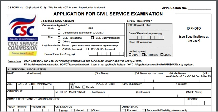 Civil Service Exam Ph: Cs Form 100 Revised 2015