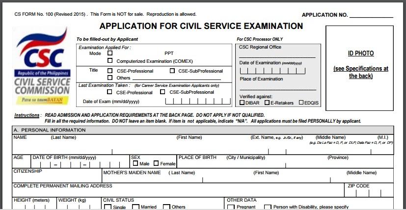 Civil Service Exam Ph Cs Form  Revised