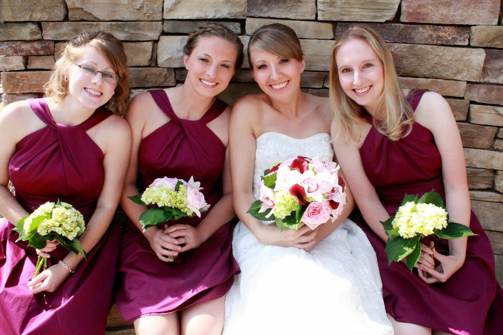 d627d6f6196 Short sangria bridesmaid dress and lace wedding dress