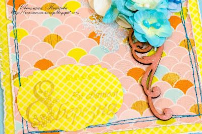 открытка с голубыми цветами