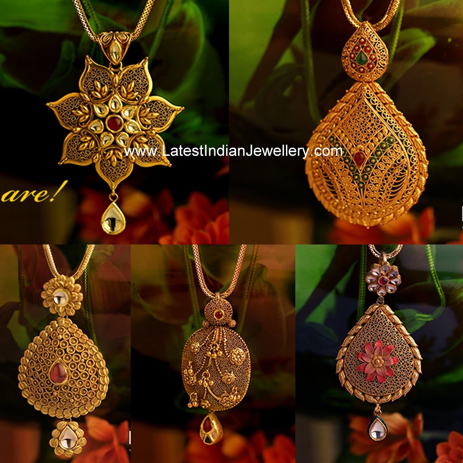 Latest Gold Pendants From Kalyan Latest Indian Jewellery