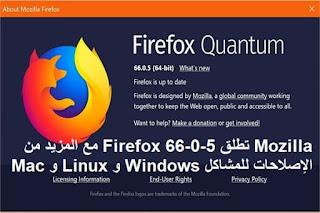 Mozilla تطلق Firefox 66-0-5 مع المزيد من الإصلاحات للمشاكل Windows و Linux و Mac