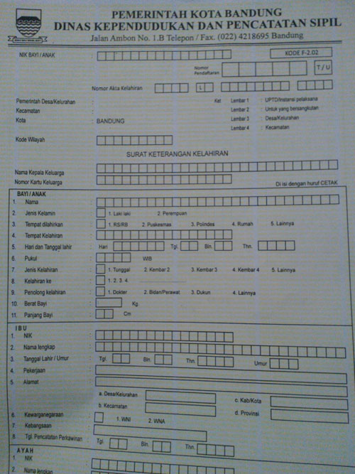 Formulir Permohonan Akta Kelahiran