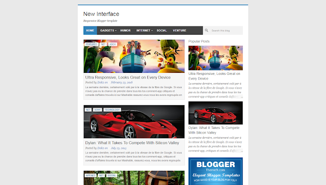 New Interface Blogger Template Responsive Free Download