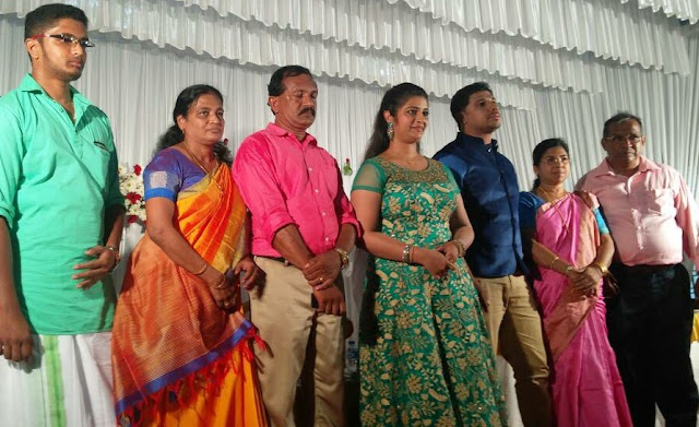 Shalu Kurian and Melvin with their family during marriage engagement ceremony