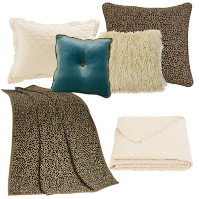 San Angela Leopard Euro sham, leopard print throw, San Angelo teal velvet pillow, cream faux fur pillow, cream linen quilt