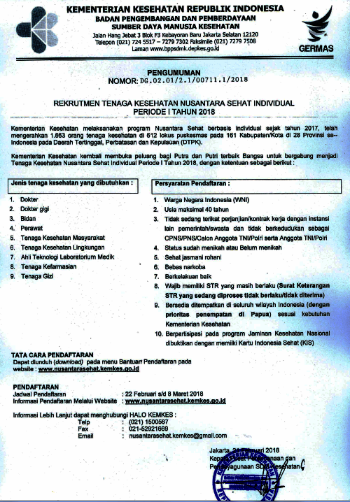 Rekrutmen Tenaga Kesehatan Nusantara Sehat Individual Periode 1 Tahun 2018