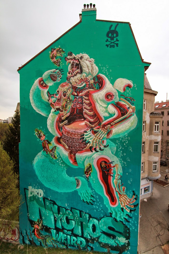 """Master surgeon Nychos is back in Vienna, Austria where he spent the last few days working on a gigantic piece entitled """"Dissection Of A Polar Bear""""."""