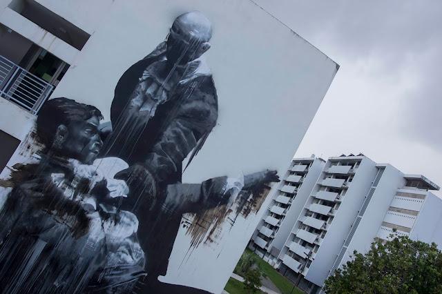 """San Juan Fight Club"" New Street Art By Conor Harrington In Puerto Rico For Los Muros Hablan 2013. 1"