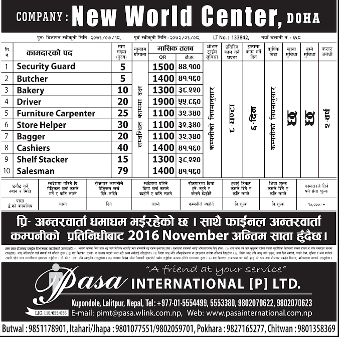 Free Visa, Free Ticket Jobs For Nepali In Qatar Salary- Rs.55,860/
