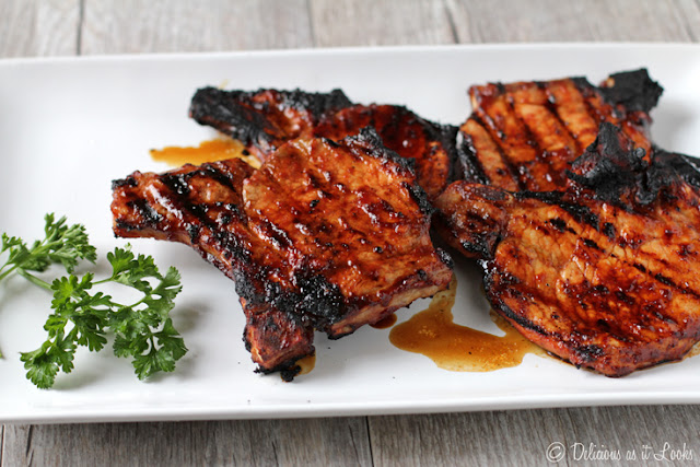 Low-FODMAP Balsamic BBQ Grilled Pork Chops  /  Delicious as it Looks