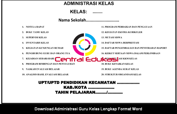 Download Administrasi Guru Kelas Lengkap Format Word