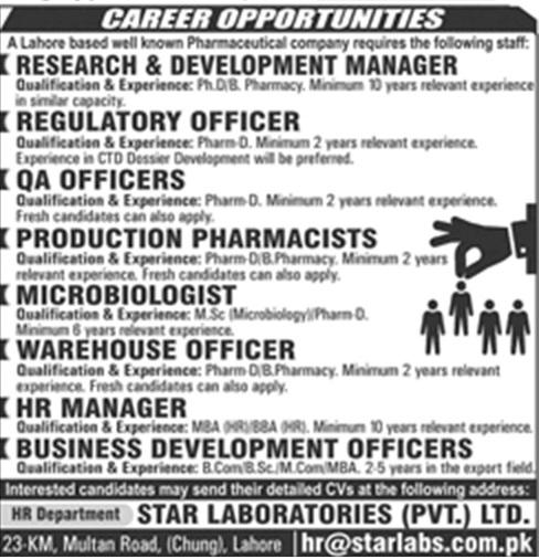 Private Jobs in Lahore in Star Laboratories Pvt Ltd