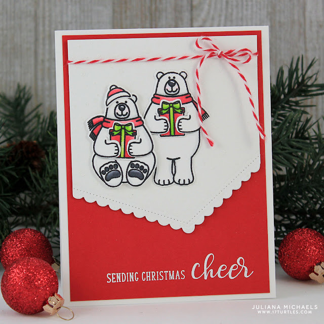 Polar Bear Christmas Card by Juliana Michaels featuring Playful Polar Bears by Sunny Studio Stamps