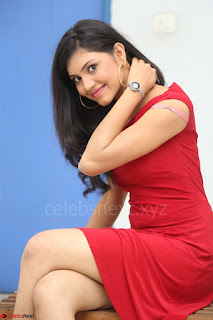 Mounika Telugu Actress in Red Sleeveless Dress Black Boots Spicy Pics 010.JPG