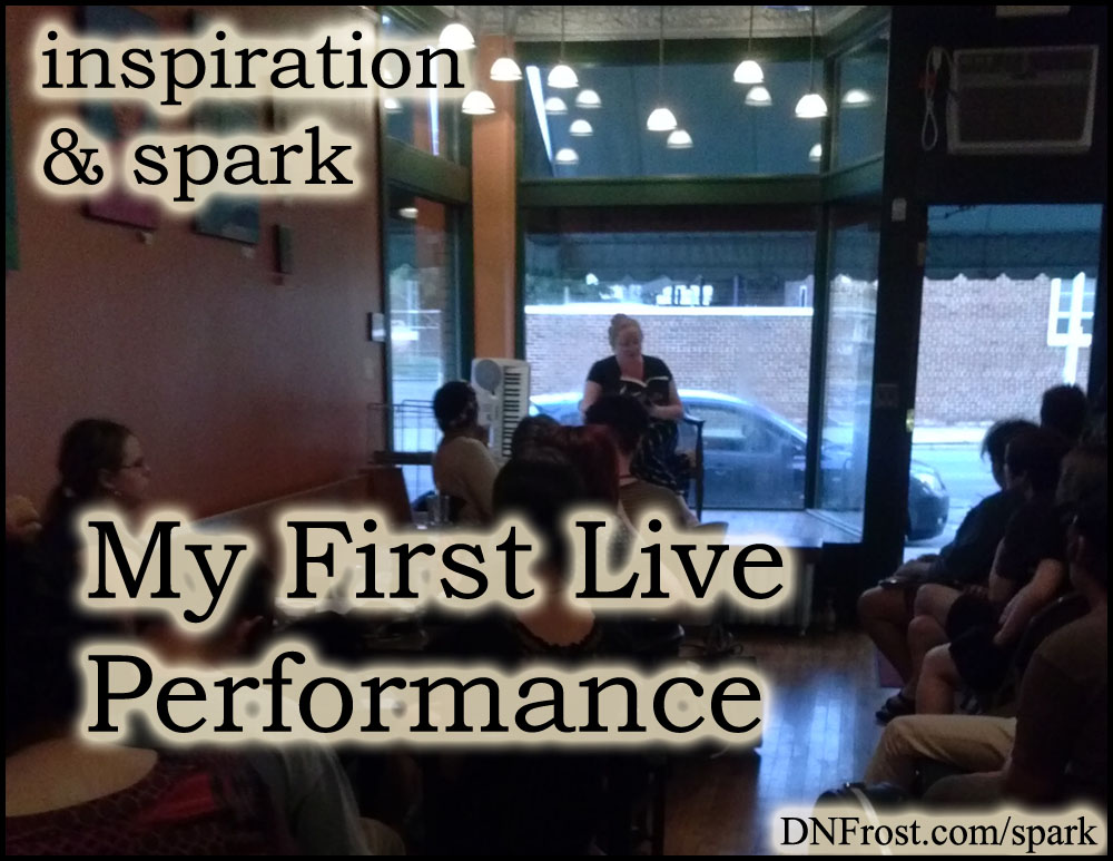 My First Live Performance: reading at a creative expo http://www.dnfrost.com/2014/08/my-first-live-performance-inspiration.html #TotKW Inspiration and spark by D.N.Frost @DNFrost13 Part of a series.