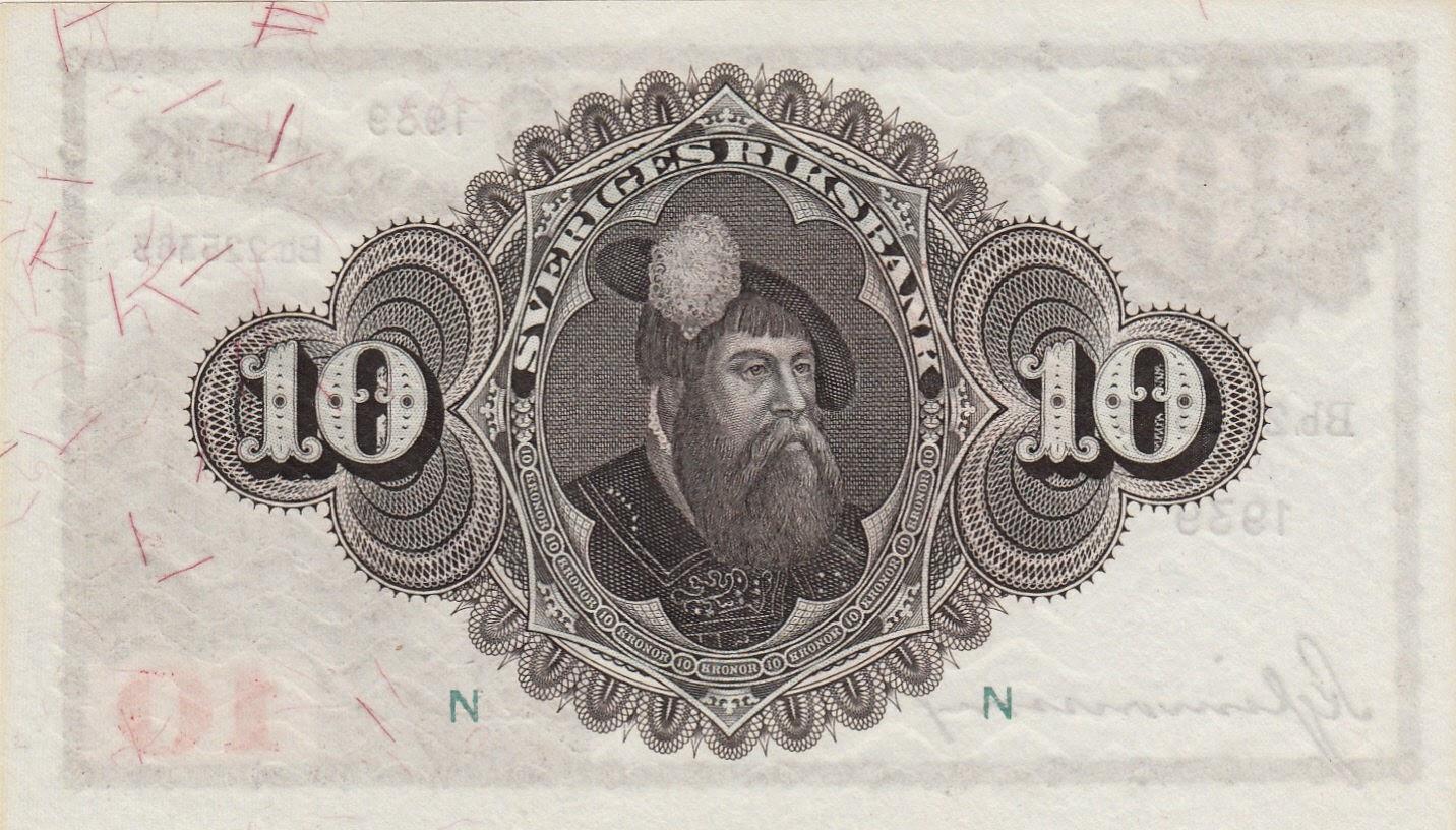 Sweden Banknotes 10 Kronor banknote 1939 King Gustav Vasa