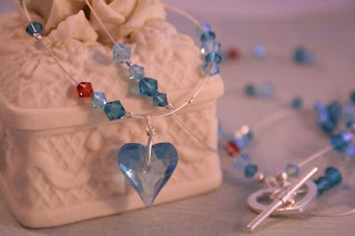 Blue heart: Swarovski, silver, necklace :: All Pretty Things