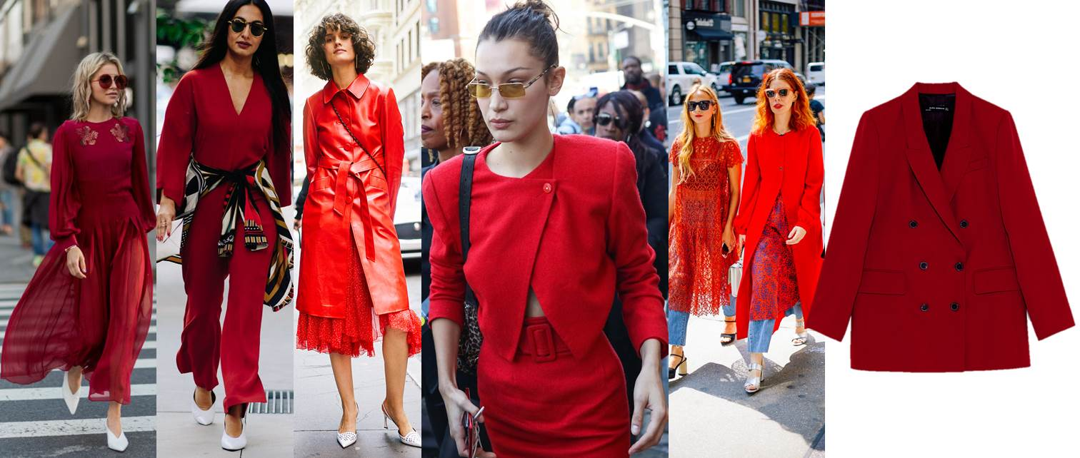 new york fashion week ss18 street style, red, total red, bella hadid