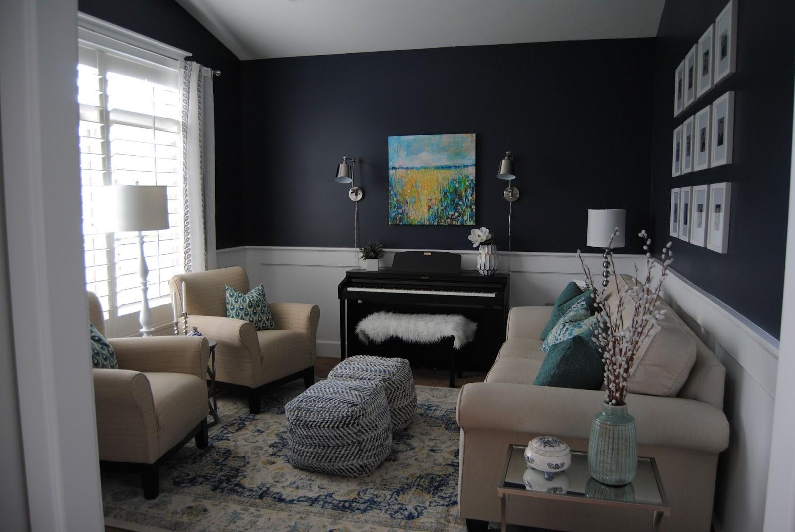 Navy Living Room Studio 7 Interior Design Client Reveal Navy Infused Living Room