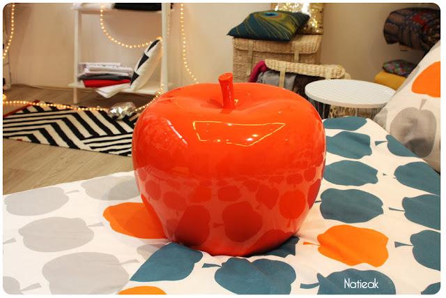 pomme rouge de Becquet créateur en linge de maison