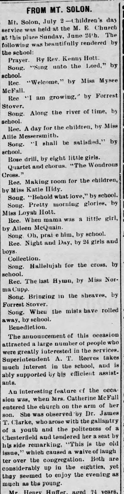 July 6, 1906 Staunton Spectator, From Mt. Solon