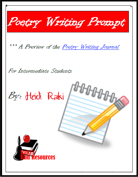 Free poetry writing prompt for the writing process from Raki's Rad Resources