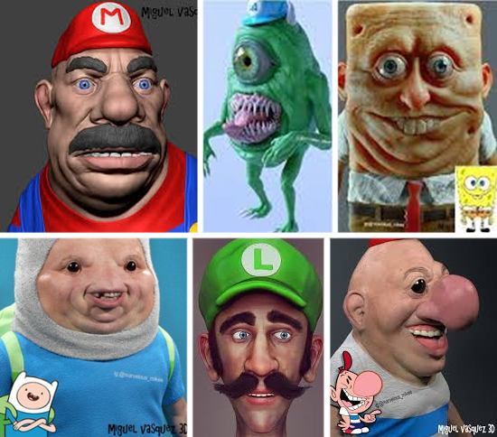 Personagens desenhos com aparência Real