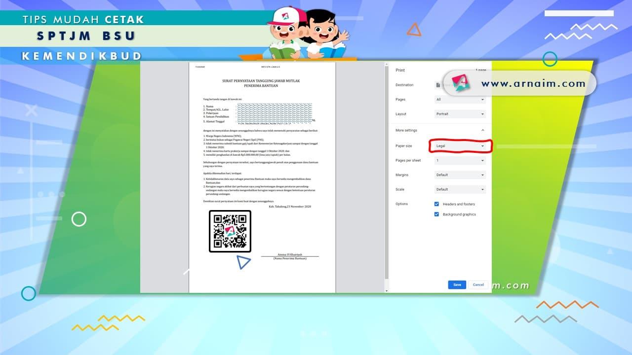 ARNAIM.COM - TIPS MUDAH CETAK SPTJM BSU KEMENDIKBUD - SETTING CETAK SPTJM 1 LEMBAR