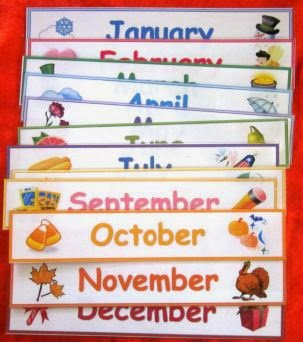 Months of the year with accents for seasons
