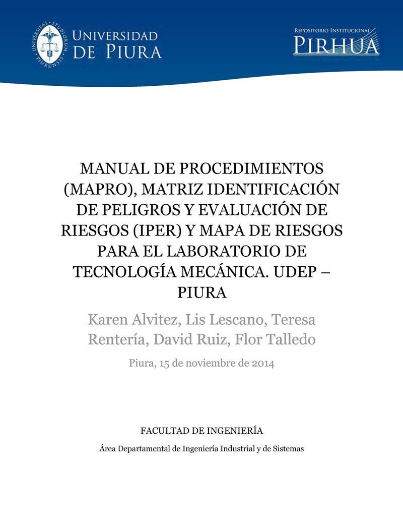 Manual de procedimientos, matriz IPER y mapa de riesgos para el laboratorio de tecnología mecánica
