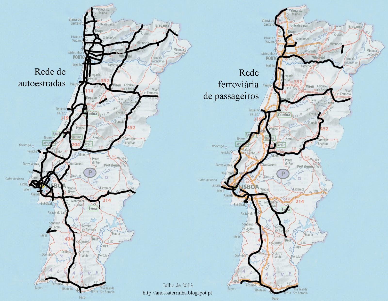 mapa de autoestradas de portugal 2013 A Nossa Terrinha: Ferrovia e autoestradas (mapas) mapa de autoestradas de portugal 2013