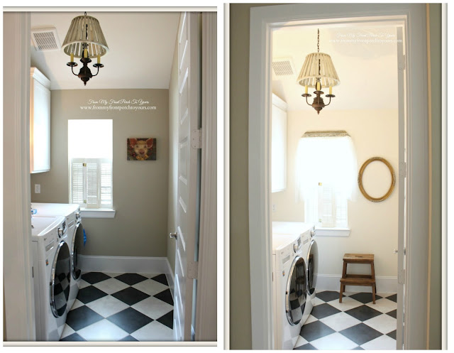 Farmhouse Laundry Room-French Farmhouse-Makeover-New Paint-Sherwin Williams-Steamed Milk-From My Front Porch To Yours