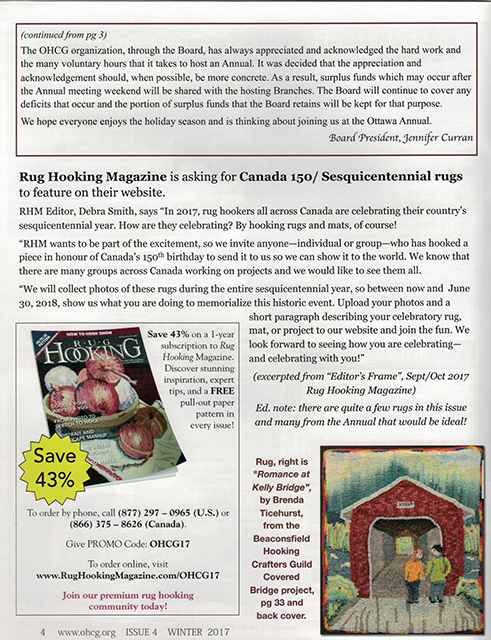 Winter 2017, Rug Hooking Magazine