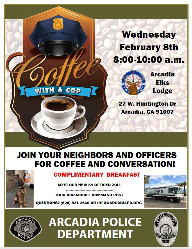 Coffee With a Cop at Arcadia Elks Lodge