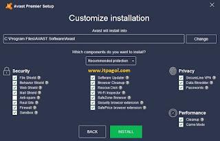 use avast Customize Installation.